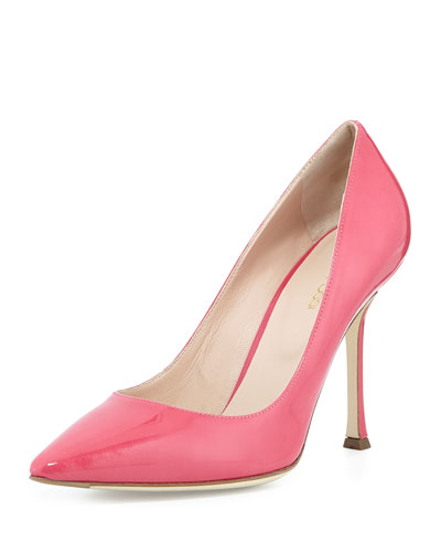 Patent Leather Point-Toe Pump, Bright Pink