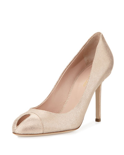 Metallic Leather Keyhole Pump, Skin