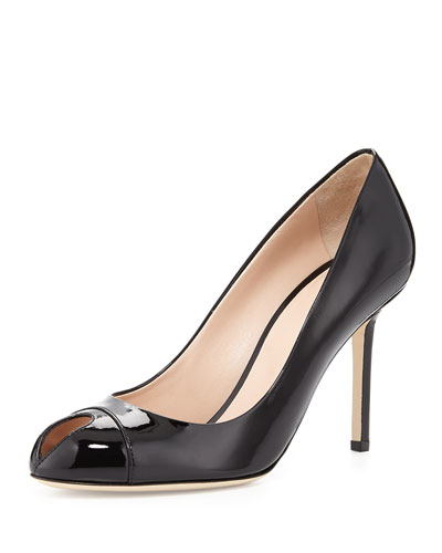 Patent Leather Keyhole Pump, Black