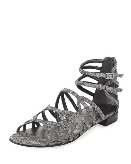 Stuart Weitzman Athens Metallic Gladiator Sandal, Pewter