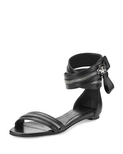 Zipper Ankle-Wrap Sandal, Black