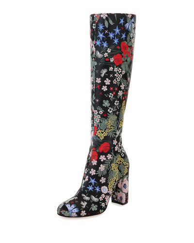 Valentino	 Garden-Print Leather Knee Boot, Nero