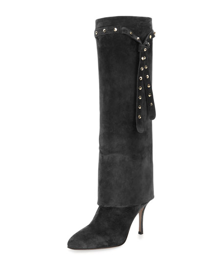 ValentinoStudded-Strap Knee Boot, Nero