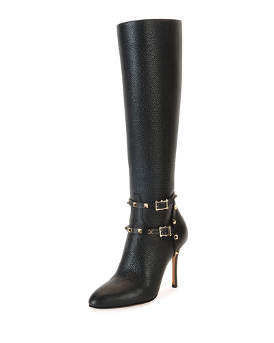 Rockstud Leather Knee Boot, Nero