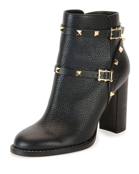 Valentino Rockstud Chunky-Heel Boot, Black