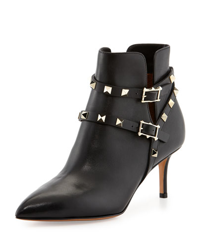 Rockstud Strappy Ankle Boot, Black