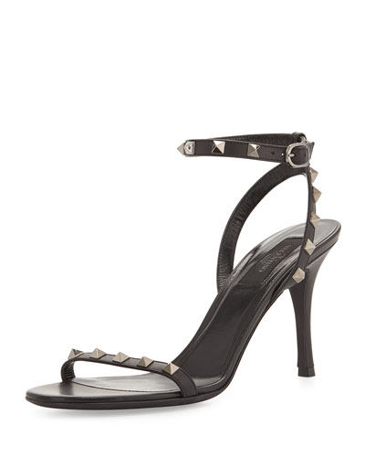 Rockstud Naked Leather Sandal, Black