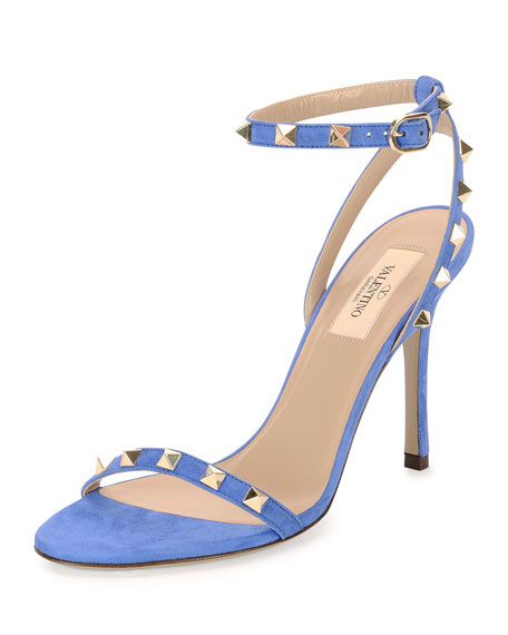Valentino Rockstud Suede Naked Sandal, Light Sapphire