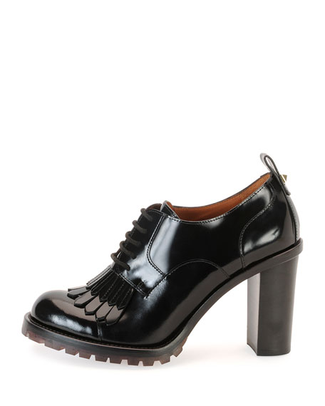 Derby Lace-Up Loafer Pump, Nero