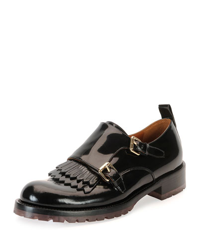 Double-Monk Patent Loafer, Black