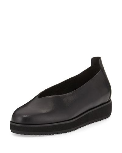 Canoe Leather Slip-On Flat, Black