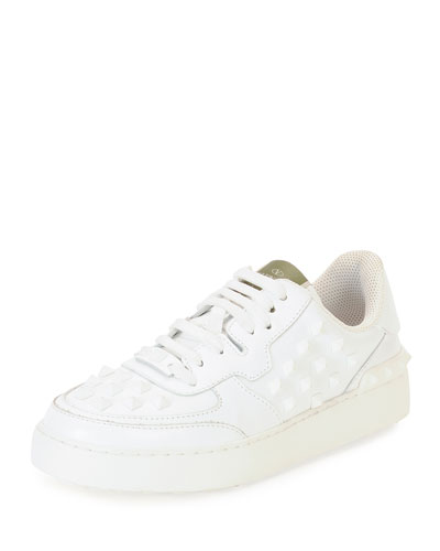 Rockstud Leather Lace-Up Low-Top Sneaker, White