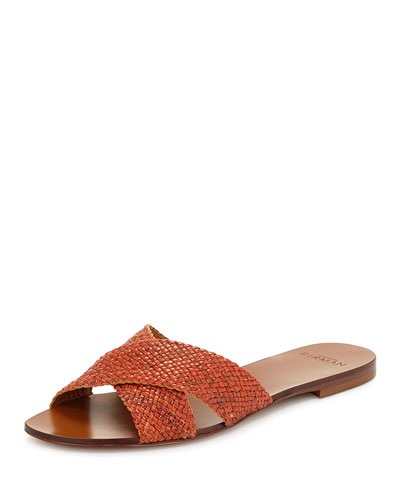 Snakeskin Crisscross Sandal Slide, Orange