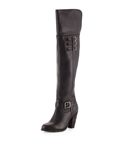 Jenny Belted Over-the-Knee Boot, Black