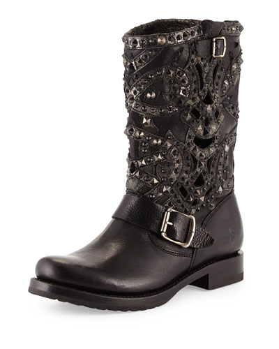 Veronica Studded Laser-Cut Leather Boot, Black