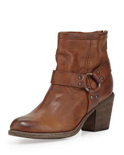 Tabitha Leather Harness Ankle Boot, Cognac