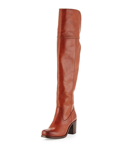 Kendall Chunky-Heel Over-the-Knee Boot, Cognac