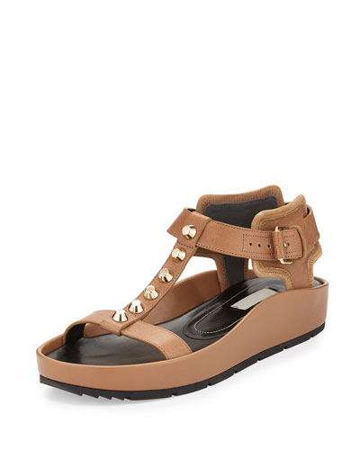Studded Leather T-Strap Sandal, Camel