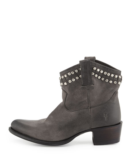 Diana Studded Leather Bootie, Charcoal