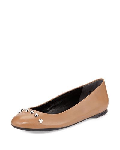 Stud Cap-Toe Ballerina Flat, Camel