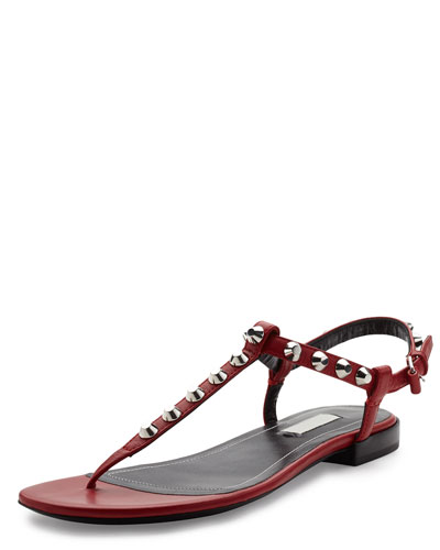 Studded Leather Thong Sandal