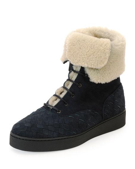 Bottega Veneta Shearling Fur-Lined Woven Boot, Dark Navy