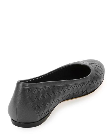 Napa Intrecciato Ballerina Flat, Black