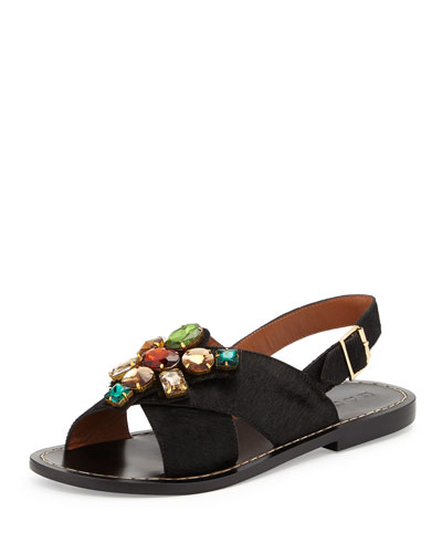Jeweled Calf-Hair Flat Sandal, Black