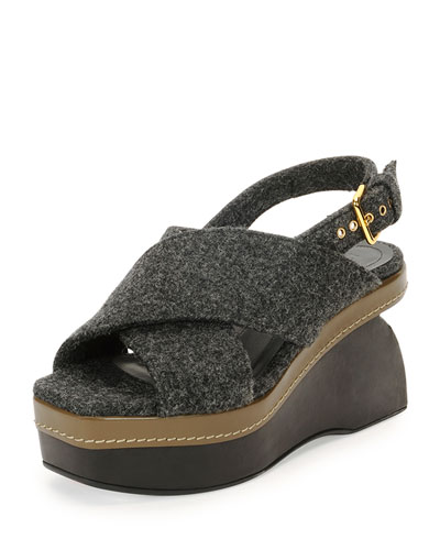 Felt Crisscross Wedge Sandal, Dark Gray