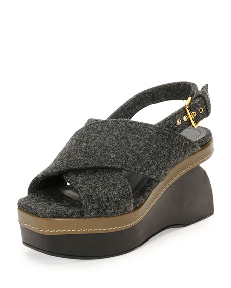 Marni Felt Crisscross Wedge Sandal, Dark Gray