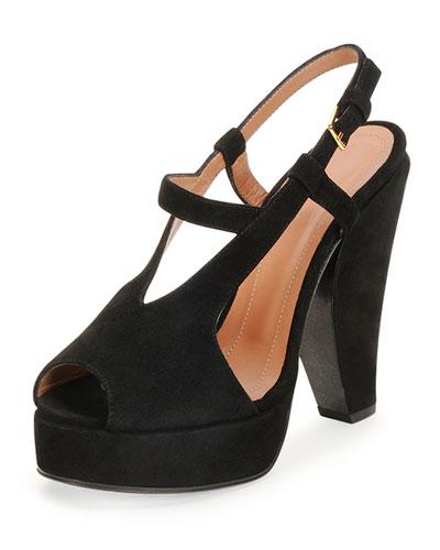 Suede Curved-Heel Sandal, Coal