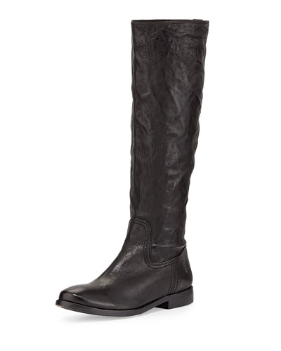 Anna Tumbled Leather Tall Boot, Black