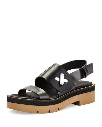 Davis Leather Platform Sandal, Black