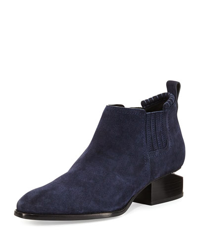 Kori Suede Lift-Heel Boot, Lake Navy