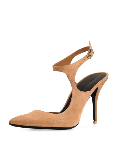 Stefania Suede Open-Side Pump, Sandstorm