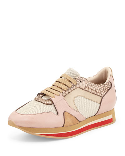 The Field Multicolor Leather/Snake Sneaker, Nude/Blush