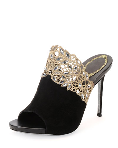 Crystal-Lace Suede Mule Sandal, Black/Gold