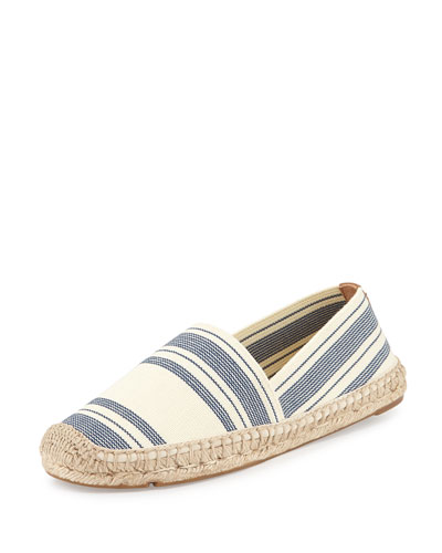 Stretch-Canvas Espadrille Flat, Ivory