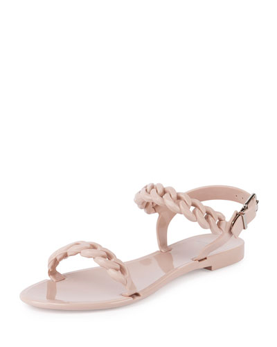 Chain Jelly Flat Sandal, Nude