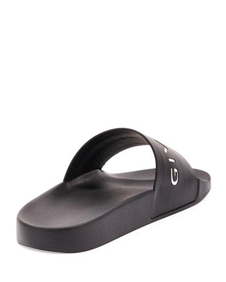 Logo Rubber Sandal Slide, Black