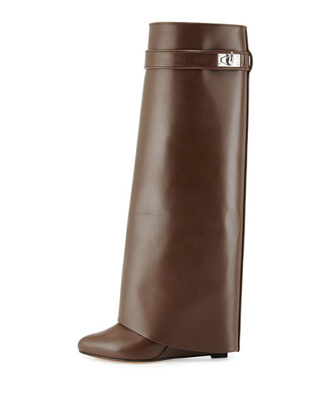 Shark Lock Leather Fold-Over Boot, Dark Brown