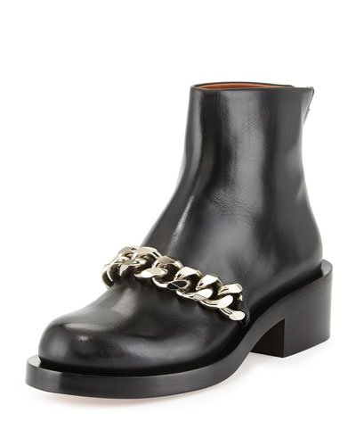 Leather Chain-Strap Ankle Boot, Black