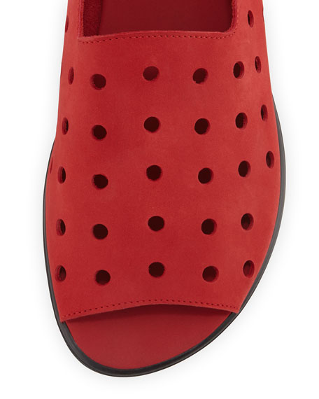Edwina Perforated Open-Toe Slip-On, Red