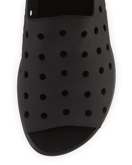 Edwina Perforated Open-Toe Slip-On, Black