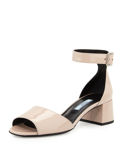 Patent Mid-Heel Sandal, Cipria