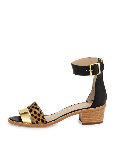 Henry Calf-Hair City Sandal, Black/Gold