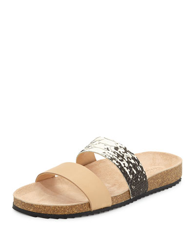 Paz Two-Band Flat Sandal, Brown