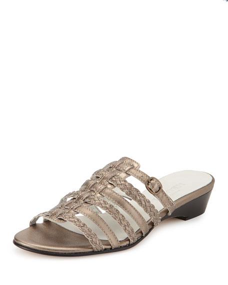 Sesto Meucci Greer Strappy Woven Sandal, Pewter