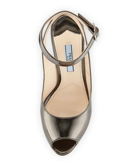 Metallic Ankle-Wrap Platform Sandal, Anthracite