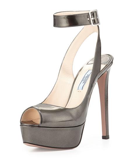 Prada Metallic Ankle-Wrap Platform Sandal, Anthracite